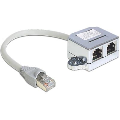 DeLOCK RJ45 Port Doubler 1 RJ45 plug > 2 RJ45 jacks (1x Ethernet, 1x ISDN) Netwerkkabel - Grijs