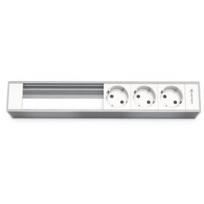 Kindermann Module Panel for 6 Plates, 3 x mains Inbouweenheid - Aluminium, Wit
