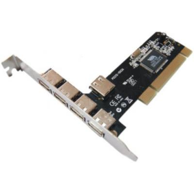Digitus USB 2.0, 4+1 port, PCI add-on card, 4 ports A/F external, 1 port internal A/F+LP Interfaceadapter
