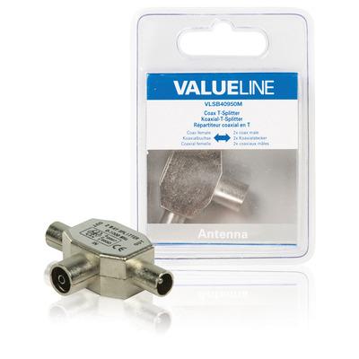 Valueline kabel splitter of combiner: Coax T-Splitter, coax vrouwelijk - 2x coax mannelijk, metaal - Zilver