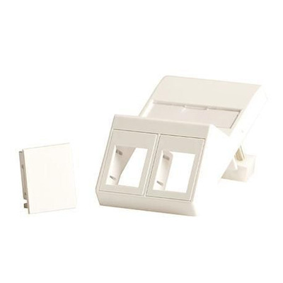 Lanview Wall plate, angled, for 2 x keystones, Fits 50x75 mm LK FUGA outlet - Wit