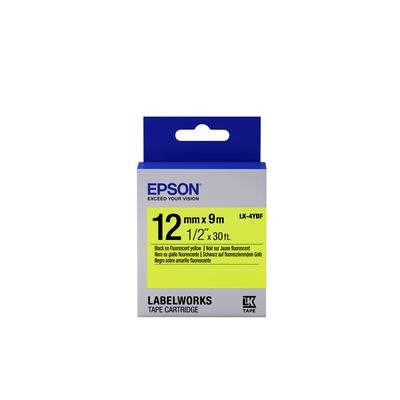 Epson Fluorescent Tape - LK-4YBF Fluor Blk/Yell 12/9 Etiket - Zwart,Geel