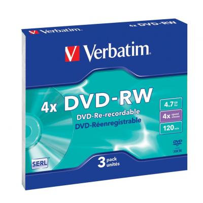 Verbatim DVD: DVD-RW Matt Silver, 3pk