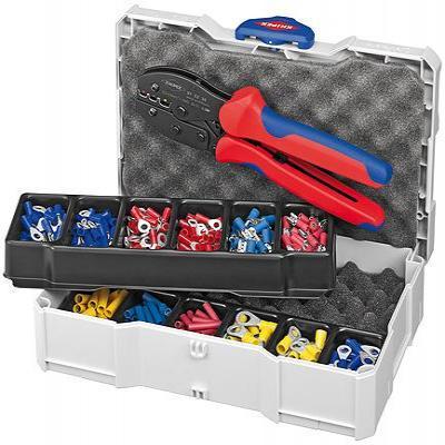Knipex tang: Krimp-assortiment voor kabelverbinders - Blauw, Rood