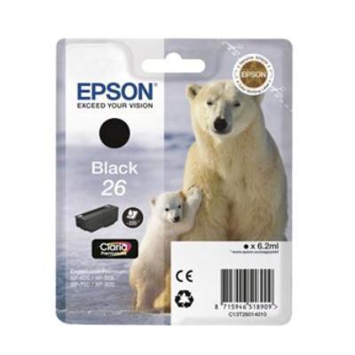 Epson inktcartridge: 26 inktcartridge zwart standard capacity 6.2ml 220 paginas 1-pack blister zonder alarm