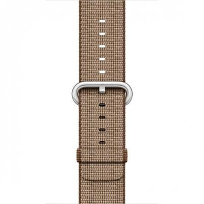 Apple horloge-band: Bandje 38mm geweven nylon - Koffiebruin / Karamel - Beige, Bruin