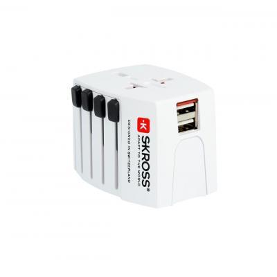Skross netvoeding: World Adapter MUV USB - Wit