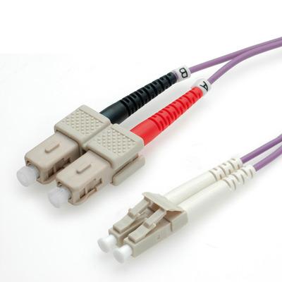 ROLINE 3m LC/SC Fiber optic kabel - Violet
