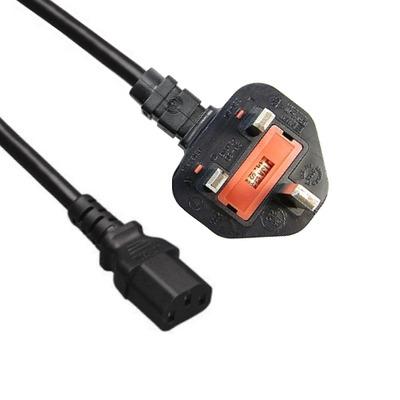 EECONN Netsnoer, Engeland - C13, 3x 1.00mm², Zwart, 2.5m Electriciteitssnoer