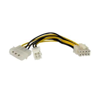 Startech.com electriciteitssnoer: 15 cm 4-Pin naar 8-Pin EPS Voedingsadapter met LP4 F/M - Multi kleuren