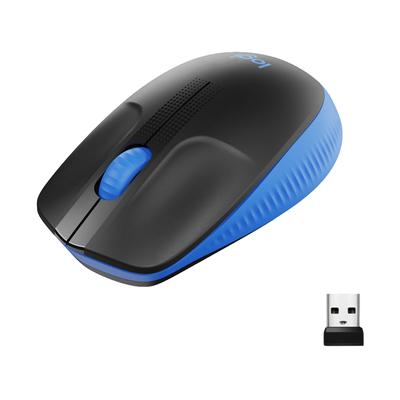 Logitech M190 Full-Size Wireless Mouse Muis - Zwart,Blauw