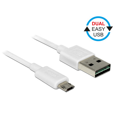 DeLOCK EASY-USB 2.0 Type-A male > EASY-USB 2.0 Type Micro-B male 0,2 m white USB kabel - Wit