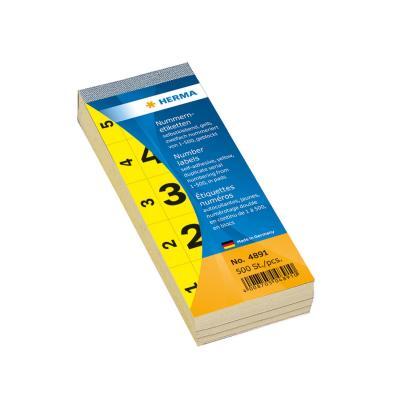 Herma etiket: Number blocks self-adhesive yellow 28x56 mm 1-500 - Geel