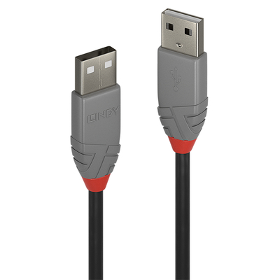 Lindy 5m USB 2.0 Type A to A Cable, Anthra Line USB kabel - Zwart