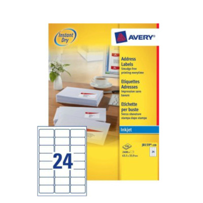 Avery adreslabel: A4, 2400 etiketten, Inkjet, 63.5 x 33.9 mm - Wit