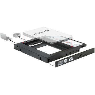 DeLOCK Slim SATA 5.25 Installation Frame for 1 x 2.5 SATA HDD Laptop accessoire - Zwart