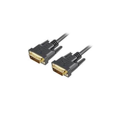 Sharkoon DVI kabel : DVI-D/DVI-D (24+1), 1 m - Zwart