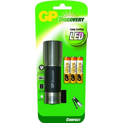 Gp batteries zaklantaarn: LED torch incl. 3 x 24AU - Zwart, Roestvrijstaal