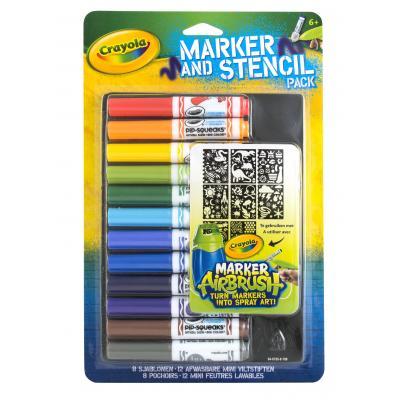 Crayola verf stift: Mini viltstiften en sjablonenset blauw - Multi kleuren