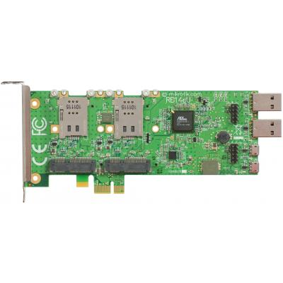 Mikrotik PCIe x1, 4 x miniPCI-e, 6 x USB to PC, 4 x SIM Netwerkkaart - Groen