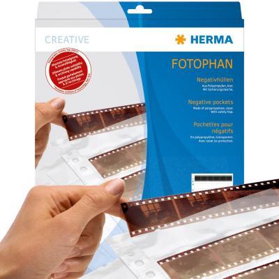 HERMA archieveerblad voor negatieven: Negative pockets transparent for 10 x 4 negative stripes 100 pcs. - Transparant
