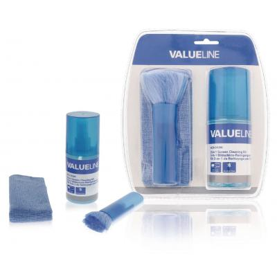 Valueline hardware: Valueline, 3 in 1 Schermreinigings set 200 ml vloeistof + doek + borstel