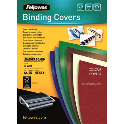 Fellowes binding cover: Dekbladen leatherlook FSC - Zwart