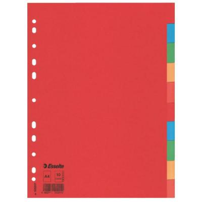 Esselte schutkaart: Multicoloured Card Dividers - Multi kleuren