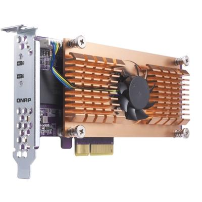QNAP QM2-2P Interfaceadapter - Zwart, Bruin, Roestvrijstaal