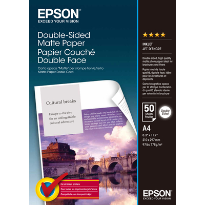 Epson Double Sided, DIN A4, 178g/m² Fotopapier - Wit
