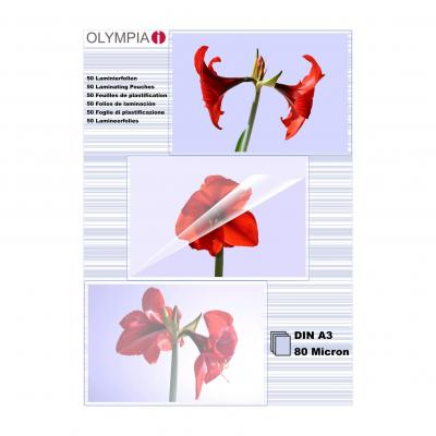 Olympia 1x25 DIN A3 80 micron Laminatorhoes - Transparant
