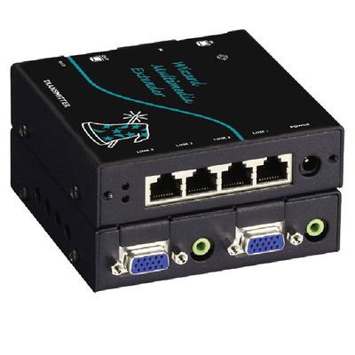 Black Box Wizard Multimedia Transmitter, Quad Video/Stereo Audio, CATx, 1600 x 1280, 300m Max, 2 x HD15 F, 2 x .....