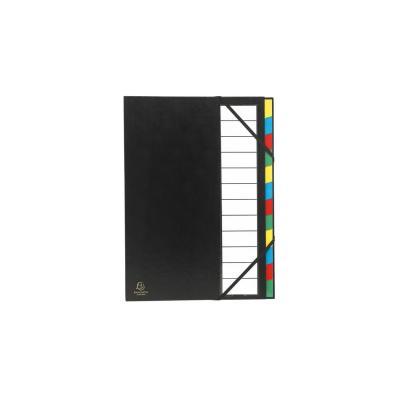Exacompta map: Harde sorteermap ordonator uitrekbare rug 12 compartimenten - Zwart, Multi kleuren