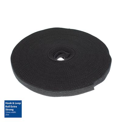 ACT Klittenband rol extra sterk 12mm, 25m - Zwart