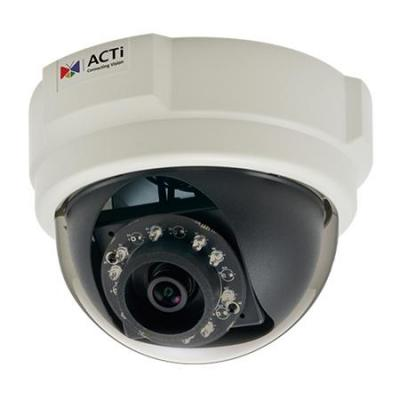 Acti beveiligingscamera: 3MP Indoor Dome with D/N, IR, Superior WDR, Fixed lens, 1920 x 1080, 1080p, 107dB - Zwart, Wit