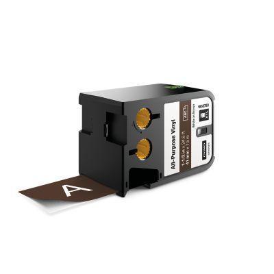 "Dymo labelprinter tape: XTL 1-1/2"" (41 mm) universeel vinyl, wit op bruin - Zwart"