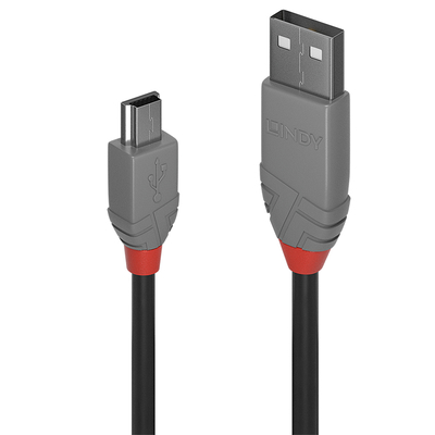 Lindy 5m USB 2.0 Type A to Mini-B Cable, Anthra Line USB kabel - Zwart