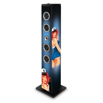 Bigben interactive home stereo set: Stijlvolle vloerstaande luidspreker met afbeelding van een pin-up - Multi