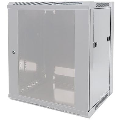 """Intellinet 19"""" Wallmount Cabinet, 15U, 770 (h) x 570 (w) x 600 (d) mm, Max 60kg, Flatpack, Grey Rack - Grijs"""