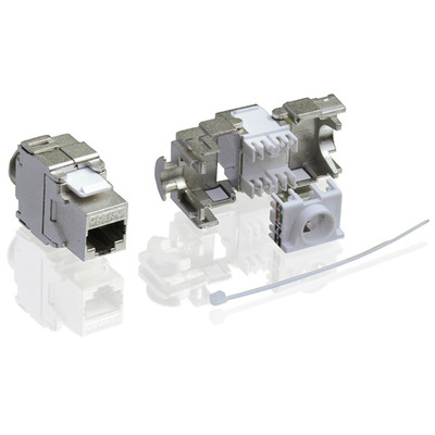 Value Cat.6a Keystone, RJ-45, shielded, toolless silver Patch panel - Zilver