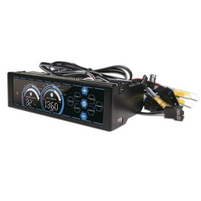 "Lc-power ventilator snelheidcontroller: 6x 24W, PWM, 13.335 cm (5.25"") LCD, 42 x 147 x 67 mm - Zwart"