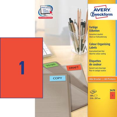 Avery 210 x 197 mm, A4, 100 pcs, rood Etiket