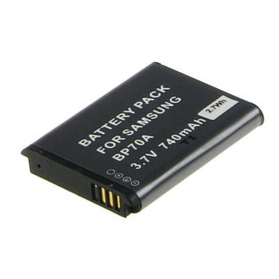 2-power batterij: Digital Camera Battery, Li-Ion, 3.7V, 740mAh, Black - Zwart