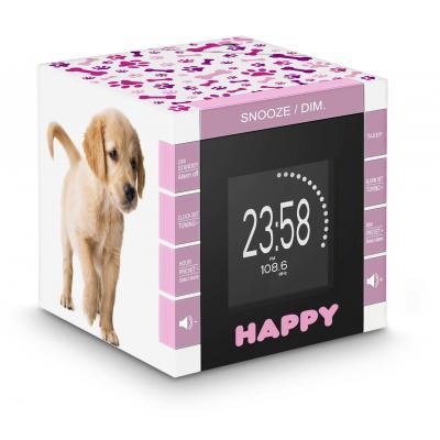 Bigben interactive radio: Wekkerradio met tijdprojectie met schattige hondjes - Roze, Wit