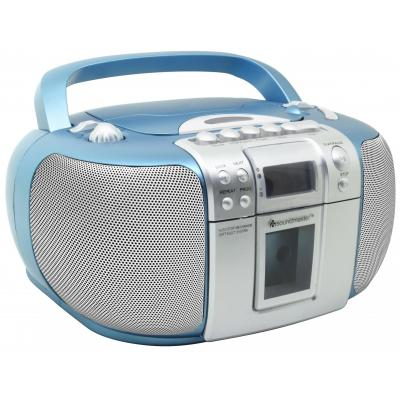 Soundmaster CD-radio: CD Boombox with Radio and Cassette Player, FM/FM-ST,CD/CD-R/RW, Blue - Blauw, Zilver