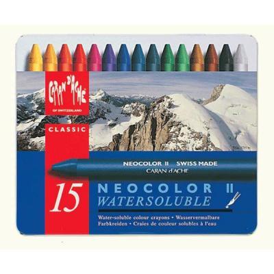 Caran d-ache pastel: NEOCOLOR II 15's - Blauw, Multi kleuren
