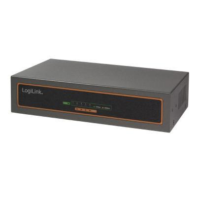Logilink PoE adapter: Power over Ethernet (PoE) Switch, 10/100/1000 MBit/s, 5-port - Zwart, Grijs