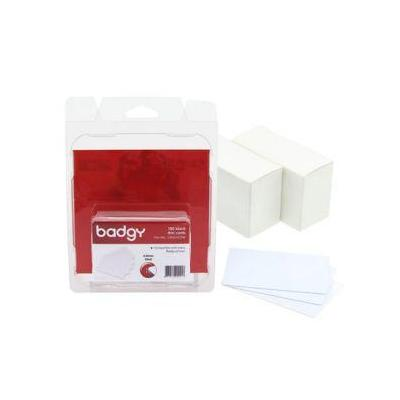 Evolis lege plastic kaart: 100 blank white PVC cards – 0.50 mm (20 mil) for Badgy 100/200 - Wit