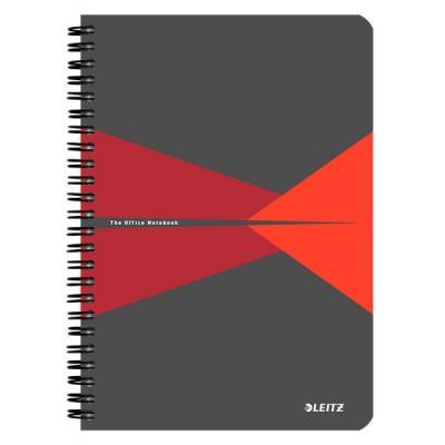 Leitz schrijfblok: Office A5 ruled, 90p, 164 x 12 x 210 mm, 280 g - Grijs, Rood