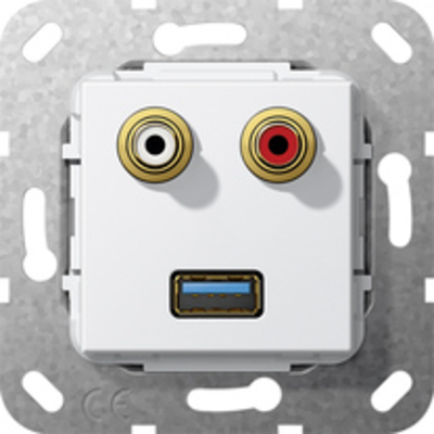GIRA Basiselement cinch audio en USB 3.0 Type A Verloopkabel Wandcontactdoos - Wit